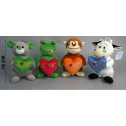 Peluche singe, vache, grenouille ou souris avec un coeur dans les bras marqué LOVE, peluche de 18 cm
