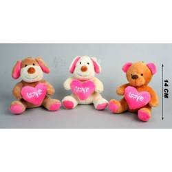 Peluche petit chien avec coeur et nounours calin qui offre son coeur !