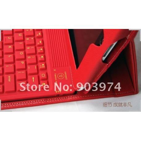 Etui rouge bluetooth pour tablette tactile