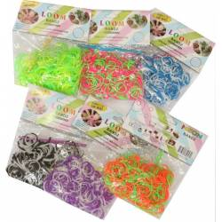 Lot de 6 sachets d'élastique LOOM BANDZ (Rainbow Loom, et autre Bands, looms) 200 pcs * 6 : 1200 pcs Bicolores / multicolores