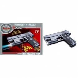 Pistolet à billes AIRSOFT GUN noir avec sa torche bleu red line