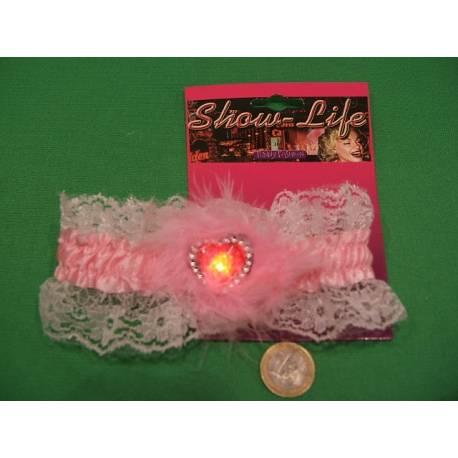 Jarretelle lumineuse en forme de coeur, belle jarretière rose pour la mariée, la fête sexy lors d'un mariage !