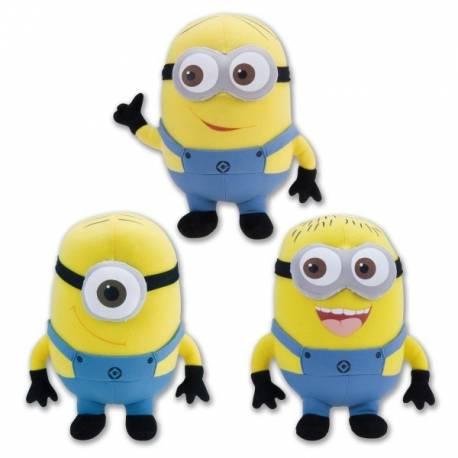 Lot de 3 Peluches MINION Moi Moche et Méchant 25 cm des 3 minions du film mmm2, Dave sourire, Jorge rire, Stewart le cyclope