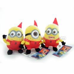 3 peluches Minions 15 cm ! MMM2 Moi Moche et méchant 2 déguisés pour NOEL en lutin du père Noel avec habits rouges minion
