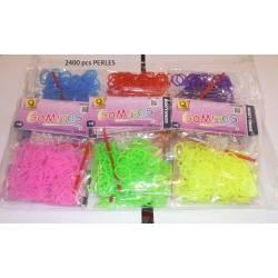 1200 élastiques loom bands 6 couleurs PERLéS design rond