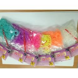 Loom band FLUO / Phosphorescent : 6 sachets de 200 elastiques de 6 couleurs :1200 pieces fluo