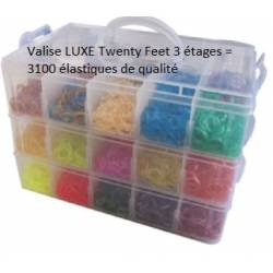 Valisette plastique transparent Loom Bands Twenty Feet, 3100 elastiques compatible rainbow loom, Cra Z loom et autres kit looms