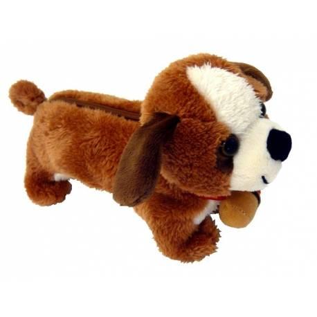 Trousse peluche de chien Saint Bernard en relief 3D